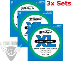 light electric guitar strings d addario exl130 guitar strings 8 38 super light gauge 3 full sets