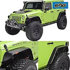 jeep wrangler unlimited flat fenders amazon com eag flat style fender flares set of 4 with led