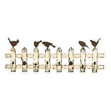 home decorators collection home storage hooks storage chirp antique white 8 iron wall hooks
