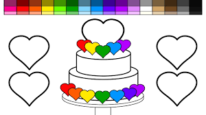 learn colors for kids and color heart rainbow wedding cake