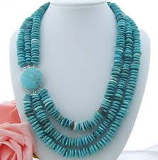blue bead necklace images Beautiful 18 quot 20 quot 3row rondelle blue bead necklace shop the nation jpg