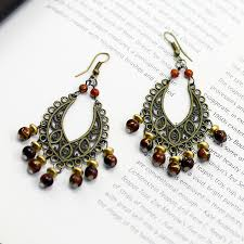 cheap earrings cheap chandelier earrings brown beaded dangle earrings bronze tone