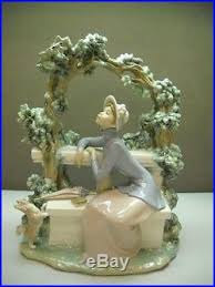 vintage lladro figurine large on bench tree with