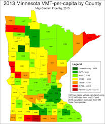 mn counties map map of the day 2013 vehicle traveled per capita by county