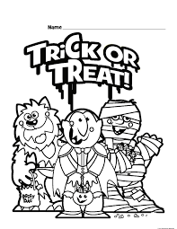 halloween trick or treat colouring pages for kidsfree printable