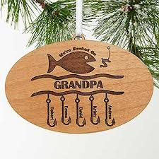 fishing personalized ornament hooked on you design