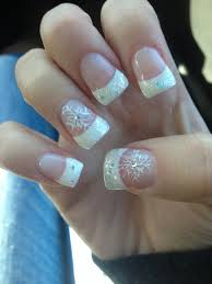 cute acrylic sparkle french tips with snowflake winter nails
