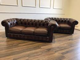 used chesterfield sofa pair of brown leather chesterfield sofas robinson of