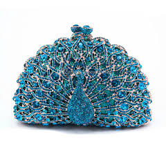 peacock turquoise luxury evening bag fashion turquoise peacock handbag bling