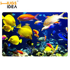 Ultra Thin Bath Mat Yellow Tropical Fish Sea Bath Carpets For Home Blue Door Mats