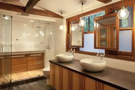 Wood Shower Door by Extraordinary Design Ideas Using Rectangular Brown Wooden Vanity