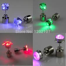 led earrings 1 pair new fashion crown flower light up cz studs