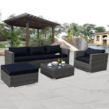 Wicker Patio Table Set Costway Rakuten Costway 6 Rattan Wicker Patio Furniture