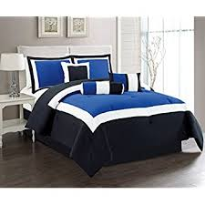 Blue And White Comforters Amazon Com Cozy Beddings Lux Décor 8 Piece Comforter Set King