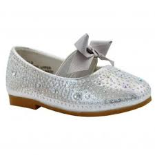 little girls silver sparkle bow strap mary jane dress shoes 4 baby
