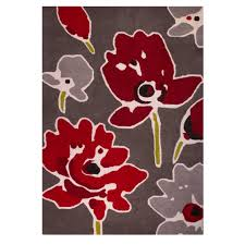 contemporary abstract floral red wool rug meraki kukoon