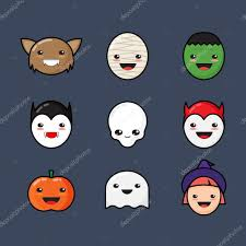halloween monsters background cute kawaii halloween icons set funny monster faces on dark