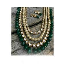 green necklace set images Buy kundan and pearl multistrand necklace set with green onyx jpg