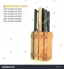set kitchen knives on wooden knife stock photo 102179653