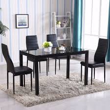 Kitchen And Dining Room Tables Amazon Com Gracelove 5 Piece Glass Metal Kitchen Dining Table