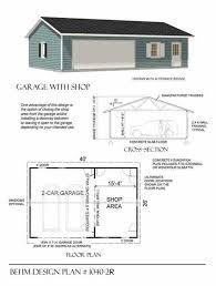 Garage And Shop Plans Two Car Garage With Shop Plan 1040 2r 40 U0027 X 26 U0027 By Behm Design
