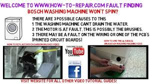 bosch washing machine will not spin fault finding guide youtube