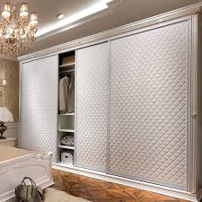 Wholesale Closet Doors Oppein Modern Three Doors Sliding Leather Wardrobe Yg11114