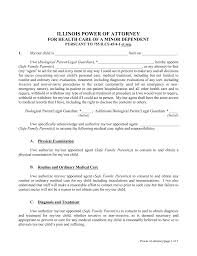 What Is Financial Power Of Attorney by Free Illinois Power Of Attorney For Minor Child Form Pdf Word