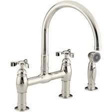 kohler parq 2 handle bridge kitchen faucet with side sprayer in