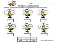 contractions worksheet cut out the word and glue to the bumblebee