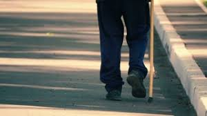 Blind Man Cane Blind Man Walking With The White Cane Slow Motion Stock Video