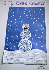 q tip painted snowman craft mess for less