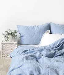 sky blue stone washed linen duvet cover