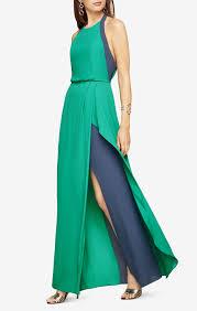 halter neck color blocked dress