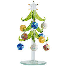 ls arts 6 inch green glass tree with bling ornaments