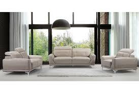 Grey Contemporary Sofa by Rialto Grey Leather Sofa Adjustable Headrests