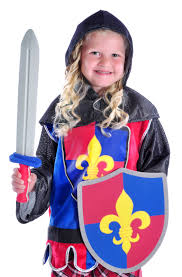 boys medieval knight with sword and shield costume set