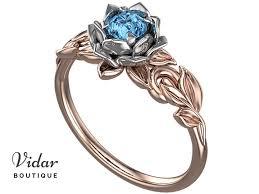 topaz engagement ring lotus flower blue topaz engagement ring vidar boutique vidar