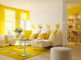 living room modern living room with yellow accent on curtain and