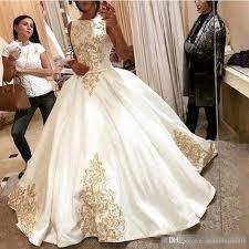 gold dress wedding discount modest empire waist 2017 plus size gold applique wedding