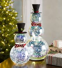 vw snowman glass snowman with 3d light effects short indoor holiday