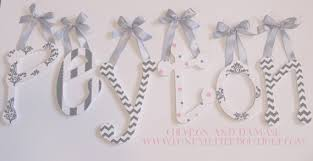 damask chevron and polka dots wall letters any colors