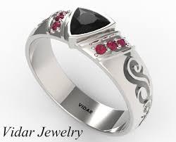 Mens Wedding Rings Black by Trillion Cut Black Diamond Mens Wedding Band Vidar Jewelry