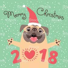 imagenes navidad 2018 graciosas tarjeta feliz navidad 2018 con perro pug gracioso felicita en el día