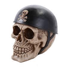 halloween figurine human skeleton skull head wearing motorcycle biker helmet