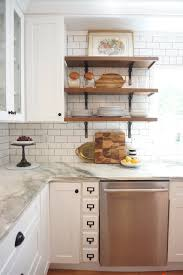 Open Shelf Kitchen by Vintage Kitchen Remodel White Shaker Cabinets Marble Countertops