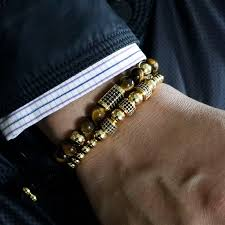 mens luxury bracelet images Fashion gold color rectangle cuboid men luxury bracelet tiger eye jpg