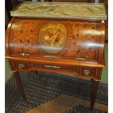 bureau marqueterie bureau cylindre marqueté de style louis xvi