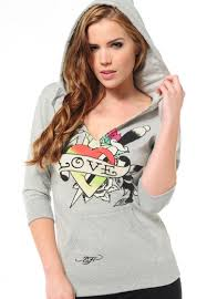 ed hardy bathing suits women u0027s love sword basic hoody in grey ed