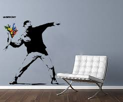 wall art decals banksy color the walls of your house wall art decals banksy banksy gangster protest man throwing flowers